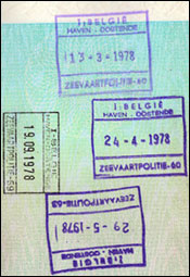 Belgian border control stamps